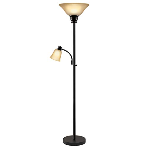 Oneach Paddy Torchiere Floor Lamp with Reading Light Metal Standing Mother Daughter Torch Lamps with Frosted Glass Shade for Living Room, Bedroom, Bronze