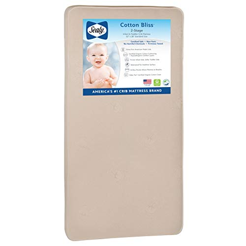 """Sealy Nature Couture Cotton Bliss Waterproof 2-Stage Toddler & Baby Crib Mattress - 204 Premium Coils, 51.7"""" x 27.3', Gold"""