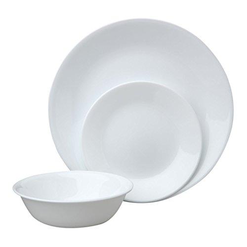 Corelle Livingware 12 Piece Dinnerware Set, Winter Frost White , Service for 4