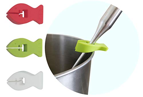 Excelity Set of 3 Clip-on Spoon Rests Clip Anti-Slip ladle Holder Handle Rest Utensils Keeper Heat Resistance Silicone for Kitchen Restaurant