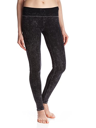 T Party Women's Mineral Washed Foldover Leggings, Black, Small