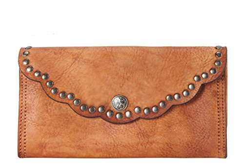 Rimen & Co. Genuine Reactionary-studded-edging Decor Leather Flap Wallet Brown