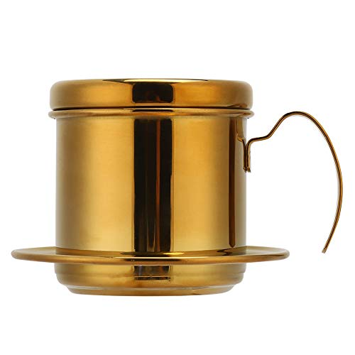Creative Stainless Steel Vietnamese Style Coffee Maker Pot Coffee Drip Brewer for Home Kitchen Office Coffee Lovers Supplies (Gold)