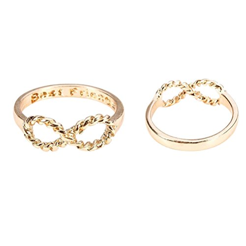 Tinksky Lovers Bowknot Infinity Best Friends Inscribed Finger Ring (Golden)