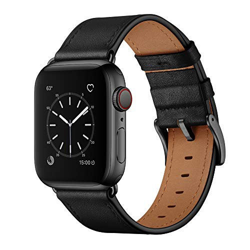 OUHENG Compatible with Apple Watch Band 42mm 44mm, Genuine Leather Band Replacement Strap Compatible with Apple Watch Series 5/4/3/2/1 44mm 42mm, Black Band with Black Adapter