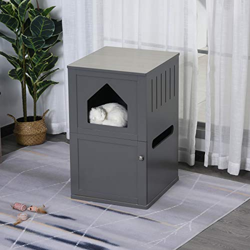 Unique Nice Compact Double-Decker Cat Litter Box 2 Story Indoor Pet Crate Luxury with Toilet, Grey Space Saver