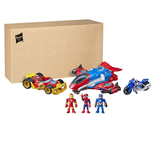 Super Hero Adventures Marvel Figure and Vehicle Multipack, 3 Action Figures and 3 Vehicles, 5-Inch Toys for Kids Ages 3 and Up (Amazon Exclusive)