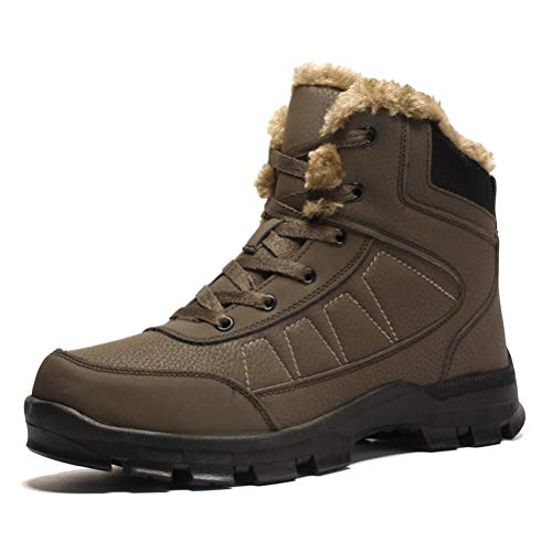 Dannto Mens Hiking Boots Outdoor Backpacking Trekking Boot Mid Ankle Winter Snow Shoes for Men Brown Size 7.5