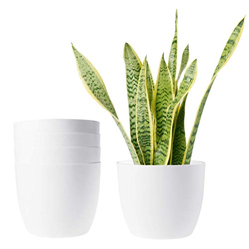 ROSOLI Plastic Planters Modern Decorative Indoor Outdoor Flower Plant Pots with Drainage for All House Plants, Mint, Herbs, Peace Lily, African Violets, Orchid, Set of 5 (7 Inches, White)