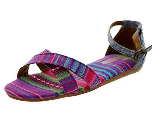 TOMS Women's Correa Sandal Chambray Stripe Mix Size 9.5 B(M) US