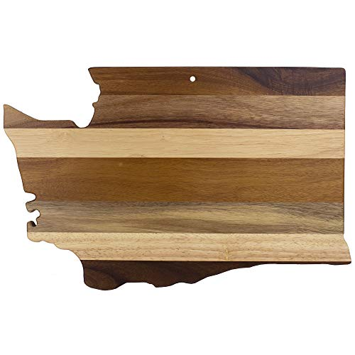Totally Bamboo Rock & Branch Series Shiplap Washington State Shaped Wood Serving and Cutting Board | Great for Wall Art