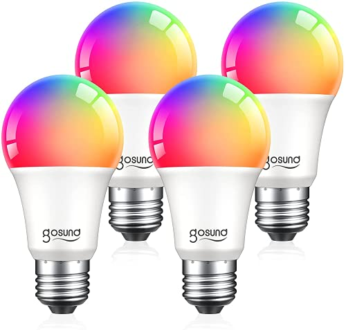 Smart Light Bulbs, 75W Equivalent E26 8W WiFi Led Bulb A19 RGBW Color Changing Light Bulb Dimmable, Work with Alexa Google Home, 2.4Ghz WiFi Only, No Hub Required 4 Pack
