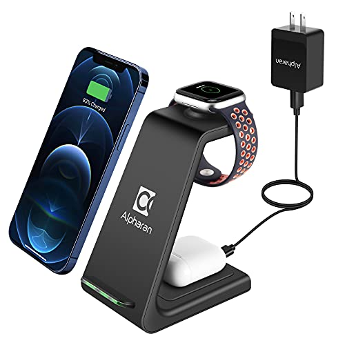 Wireless Charger,3 in 1 Wireless Charging Station,Qi Fast Charging Stand Dock for Apple Watch Series,AirPods,iPhone 12 Pro iPhone 11 Pro Max X XR XS 8 Plus with QC 3.0 Adapter by Alpharan (Black)