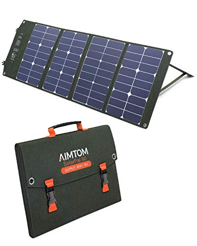 AIMTOM 80W Solar Panel for Power Stations, Solar Generators, Phones, Camera, GPS and Laptops, SolarPal 80 Foldable Solar Charger with QC3.0 USB, Type-C and 18V DC for Camping, RV, Outdoors and Home