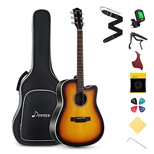 Donner Cutaway Sunburst Acoustic Guitar Package DAG-1CS Beginner Guitar Kit With Bag Tuner Strap String Picks