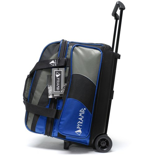 Pyramid Path Deluxe Double Roller with Oversized Accessory Pocket Bowling Bag (Royal Blue/Silver)