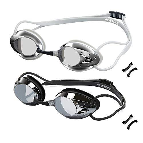 vetoky Swim Goggles Anti Fog Swimming Goggles UV Protection Mirrored & Clear