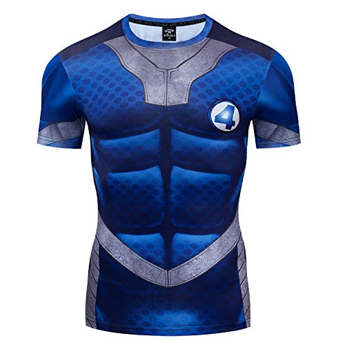 GYM GALA Fantastic Hero Shirt Short Sleeve Casual and Sports Cosplay Cool 3D Printed Compression Shirt (XX-Large, Short Blue-1)
