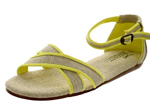 TOMS Neon Trim Burlap Vegan Women's Correa Sandals 10001386 (Size: 6.5)