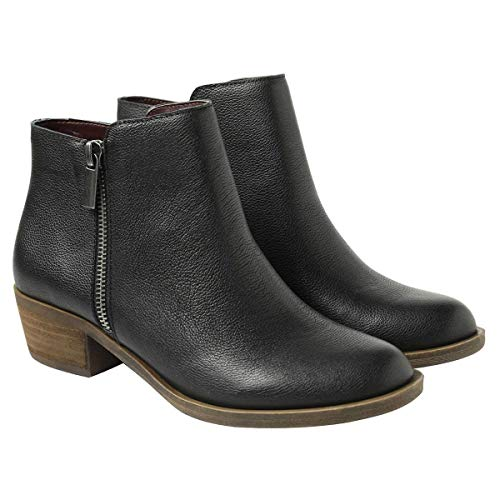 kensie Women's Black Leather Ghita Short Ankle Boots (7)