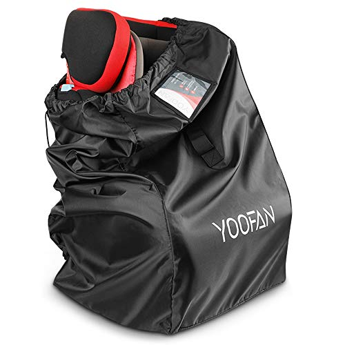 YOOFAN Car Seat Travel Bag, Waterproof Carseat Gate Check Backpack for Air Travel with Adjustable Padded Straps, Front Strap, Luggage ID Window for Car Seat, Stroller, Booster (46x46x85cm)
