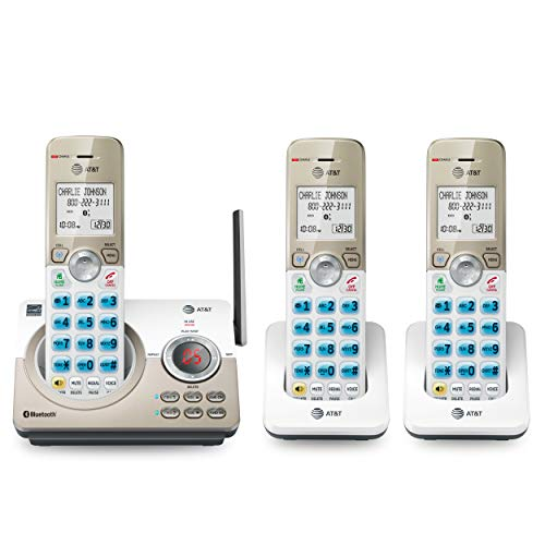 AT&T DL72319 DECT 6.0 3-Handset Cordless Phone for Home with Connect to Cell, Call Blocking, 1.8' Backlit Screen, Big Buttons, intercom, and Unsurpassed Range