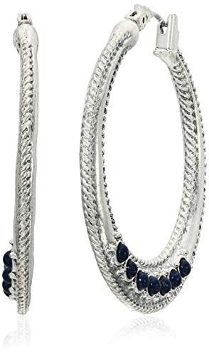 Lucky Brand Women's Rope Textured Lapis Hoop Earrings, Silver, One Size