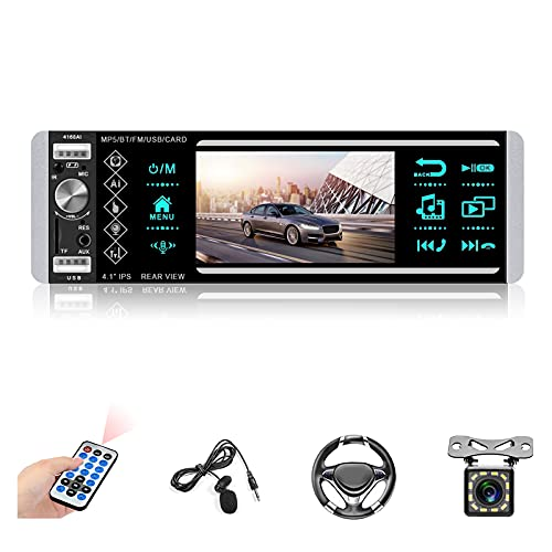 Single Din Car Stereo Bluetooth 4.1'' Touch Screen Car Digital Media Receiver Car Audio System Support Voice Control/TF/USB/Aux-in AM/FM Radio Receiver + Backup Camera External Microphone SWC
