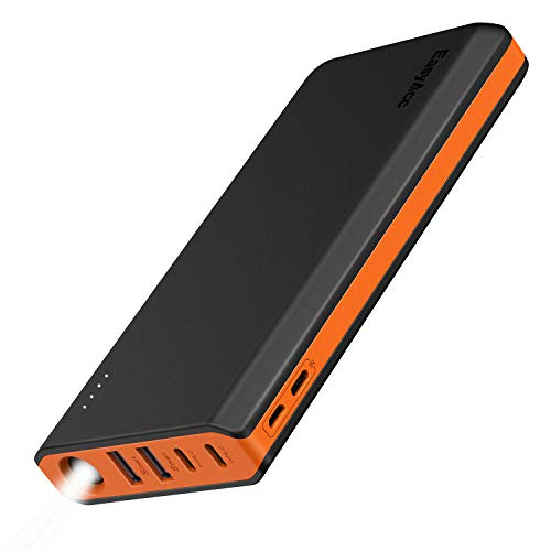 EasyAcc 20000mAh Portable Charger USB C 4 Outputs & 2 Inputs USB C Power Bank with Flashlight External Battery Pack Charger Type C for iPhone iPad Samsung Android - Black and Orange