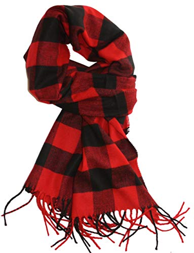 LibbySue--Classic Buffalo Check Plaid, Cashmere Feel Winter Scarf in Red, Black