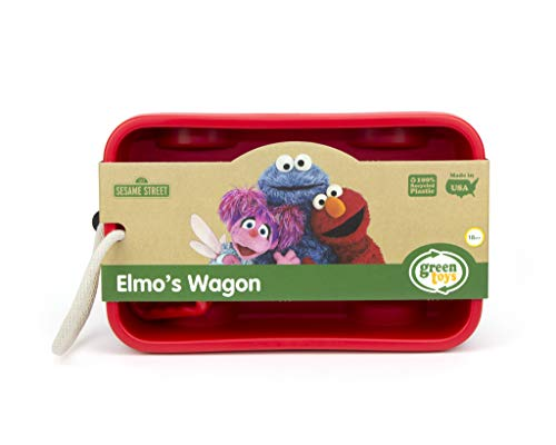 Green Toys Sesame Street Elmo's Wagon, Red - Pretend Play, Motor Skills, Kids Outdoor Toy Vehicle. No BPA, phthalates, PVC. Dishwasher Safe, Recycled Plastic, Made in USA.