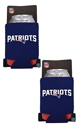 Kolder Fan Shop Football Team Pack of 2 Insulated 12 Oz Can Cooler Bundle (New England Patriots - Small Logo)