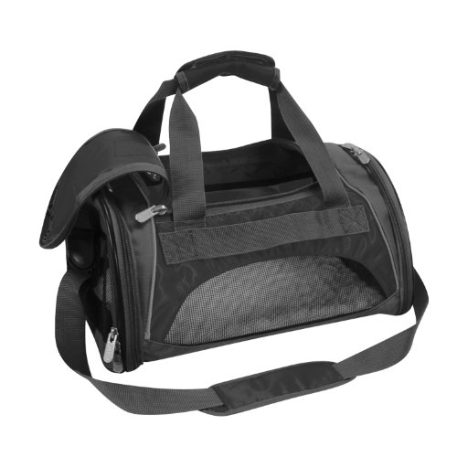 Sherpa 44071 Sport Duffle Pet Carrier, Medium, Black with Silver Trim
