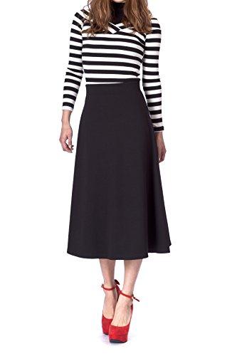 Dani's Choice Elastic Waist A-line Flared Long Skirt (M, Black)