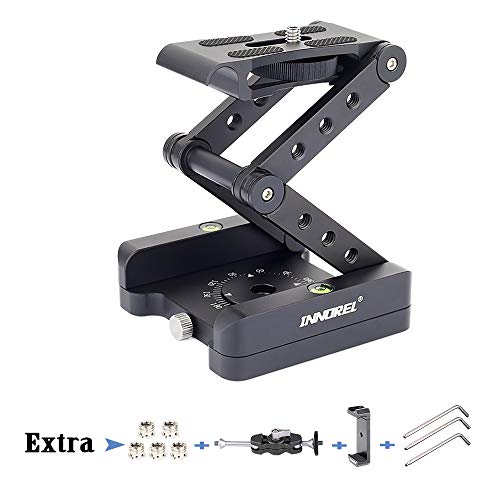 Z-Flex Tilt Tripod Head-INNOREL MH5 CNC Aluminum Alloy All Metal Flexible Folding Z Pan 360° Horizontal Rotation with 1/4' and 3/8' Screws, Max Load 6.61lb for Canon Nikon Sony DSRL Camcorder Slider
