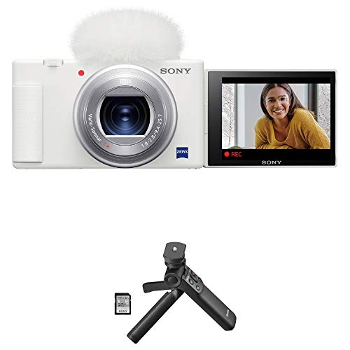 Sony ZV-1 Compact 4K HD Camera, White ACCVC1 Vlogger Accessory Kit with Wireless Bluetooth Grip/Tripod (GP-VPT2 BT) and 64GB UHS-II SD Card (SF-E64/T1)