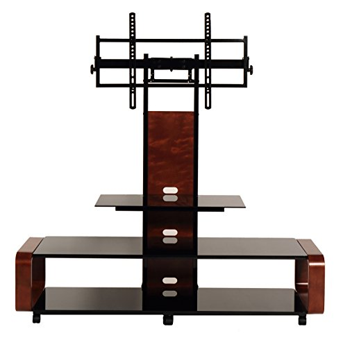 TransDeco casters 35-85' Curved Wood TV Stand with Mount, 60' W x 19.7' D x 62.1' H, Dark Oak/Black