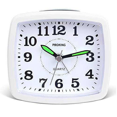 PROKING Silent Non Ticking Travel Analog Alarm Clock,Simple Battery Operated Bedside Table Clock Snooze and Light Functions Morning Clock for Kids Men Women Home Bedroom Office Clock (White-New)