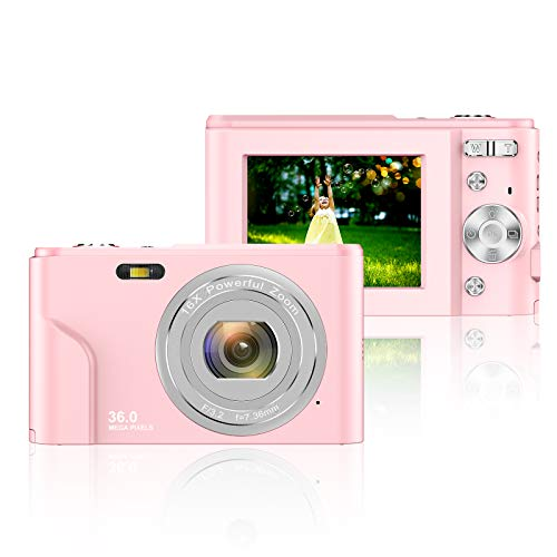 Digital Camera 2.4 Inch LCD Rechargeable HD Digital Camera Students Cameras Mini Camera 36 Mega Pixels with 16X Zoom for Adult Students Kids Beginners (Pink)