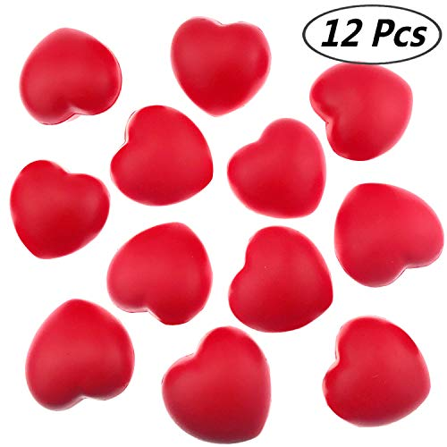 Akusety 12 Bulk 2.875'x3' Red Heart Stress Balls - Ideal for Valentine's Day or Heart Health