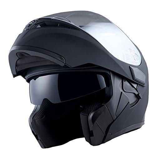 1Storm Motorcycle Modular Full Face Helmet Flip up Dual Visor Sun Shield: HB89 Matt Black