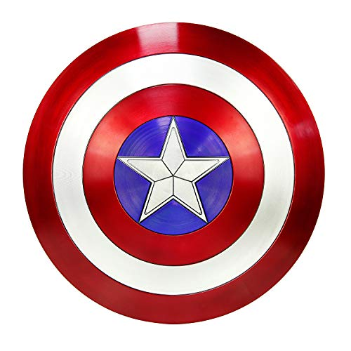 DMAR Captain America Shield for Adults, 1:1 ABS Replica Cosplay Props Red, with Adjustable Hand Grips, Measures 22 Inches Diameter