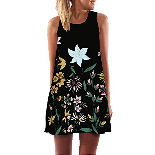 Women Summer Sleeveless Boho Print Casual Beach Vintage Stylish Short Mini Dress Tank Dresses Black