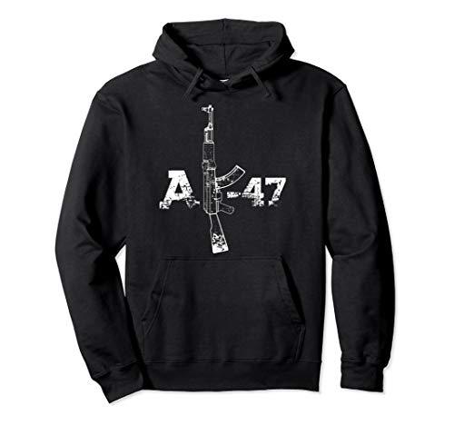 AK47 Gun Silhouette Illustration, AK-47 Gun Drawing Gift Pullover Hoodie