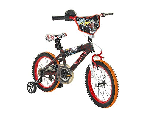 Dynacraft Hot Wheels Boys BMX Street/Dirt Bike with Hand Brake 16'' Black/Red/Orange (8054-34WA)