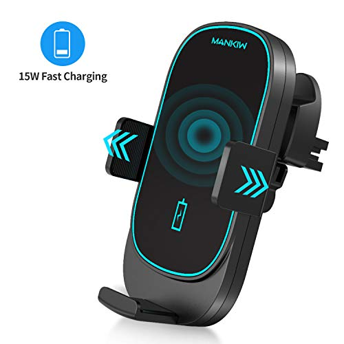 MANKIW Car Wireless Charger Mount,15W Qi Car Charger Auto-Clamping Air Vent Phone Holder Compatible with iPhone 11/11Pro/11Pro Max/Xs Max/XS/XR/X/8/8+, Samsung S10/S10+/S9/S9+/S8/S8+, Pixel/LG