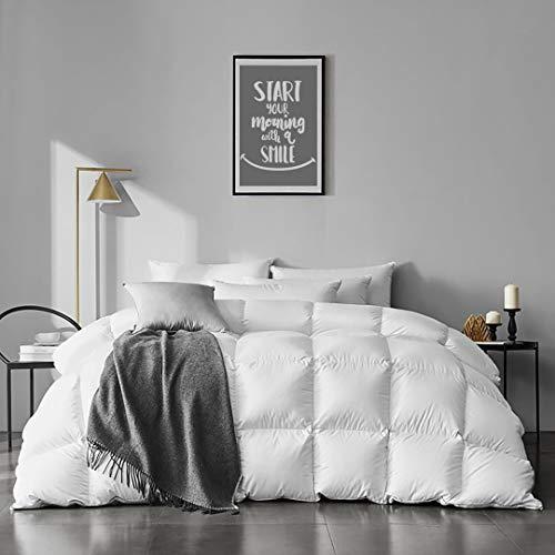 APSMILE 100% Organic Cotton Goose Feather Down Comforter Medium Warm All Seasons Hypoallergenic Duvet Insert (Full/Queen, Ivory White)