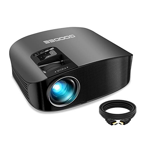 Projector, GooDee 2020 Upgrade 6000 Lux HD Video Projector Outdoor Movie Projector, 230' Home Theater Projector Support 1080P, Compatible with Fire TV Stick, PS4, HDMI, VGA, AV and USB, Black (YG600)