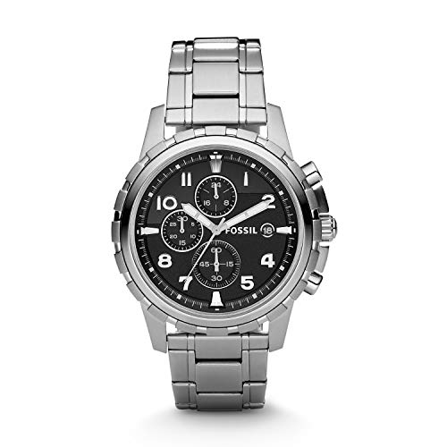 Fossil Men's Dean Stainless Steel Chronograph Watch, Color: Silver-Tone (Model: FS4542)