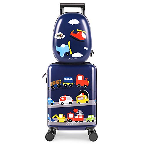iPlay, iLearn Kids Carry On Luggage Set, 18' Hardside Rolling Suitcase W/ Spinner Wheels, Hard Shell Travel Luggage W/ Backpack for Boys Toddlers Children